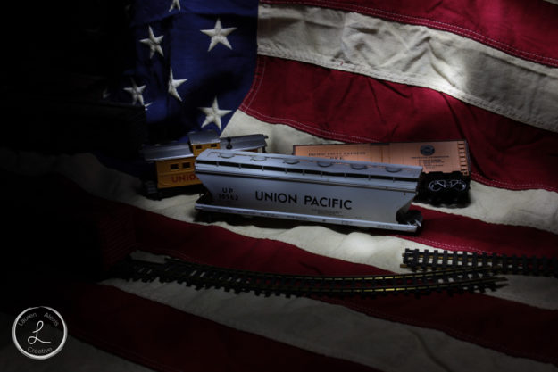 light paint, indoor light painting, table top light painting, train, american flag, union pacific