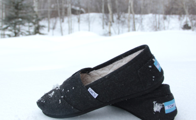 winter product photography, shoes in snow, winter toms, fur lined toms, toms,