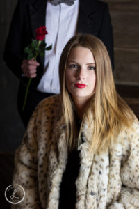 Womens portrait, Bachelor, Womens fashion, womens makeup, womens lipstick, red lips, red lips with red rose, man with rose, fur coat, fur coat with rose, womens portrait,