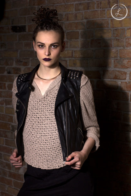 Womens portrait, Womens fashion, black lipstick, woman leather vest