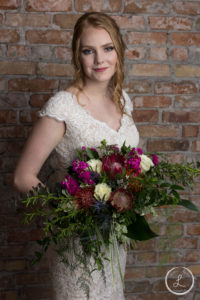 Bride portrait, wedding fashion, bride, flowers,