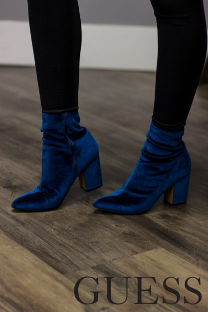 Womens fashion, velvet shoes, blue shoes, womens heels, womens fashion accessory, Guess Shoes