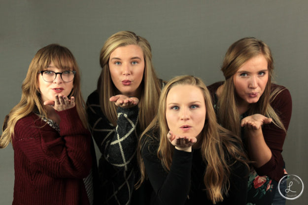 group portrait, womens portrait, womens group, blowing kisses,