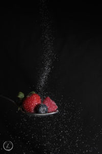 Stock Photography, Mixed Berries with Sugar, Frozen Motion, Pouring Sugar on fruit, Strawberry, Raspberry, Blueberry, Sugar, Spoonful of Fruit